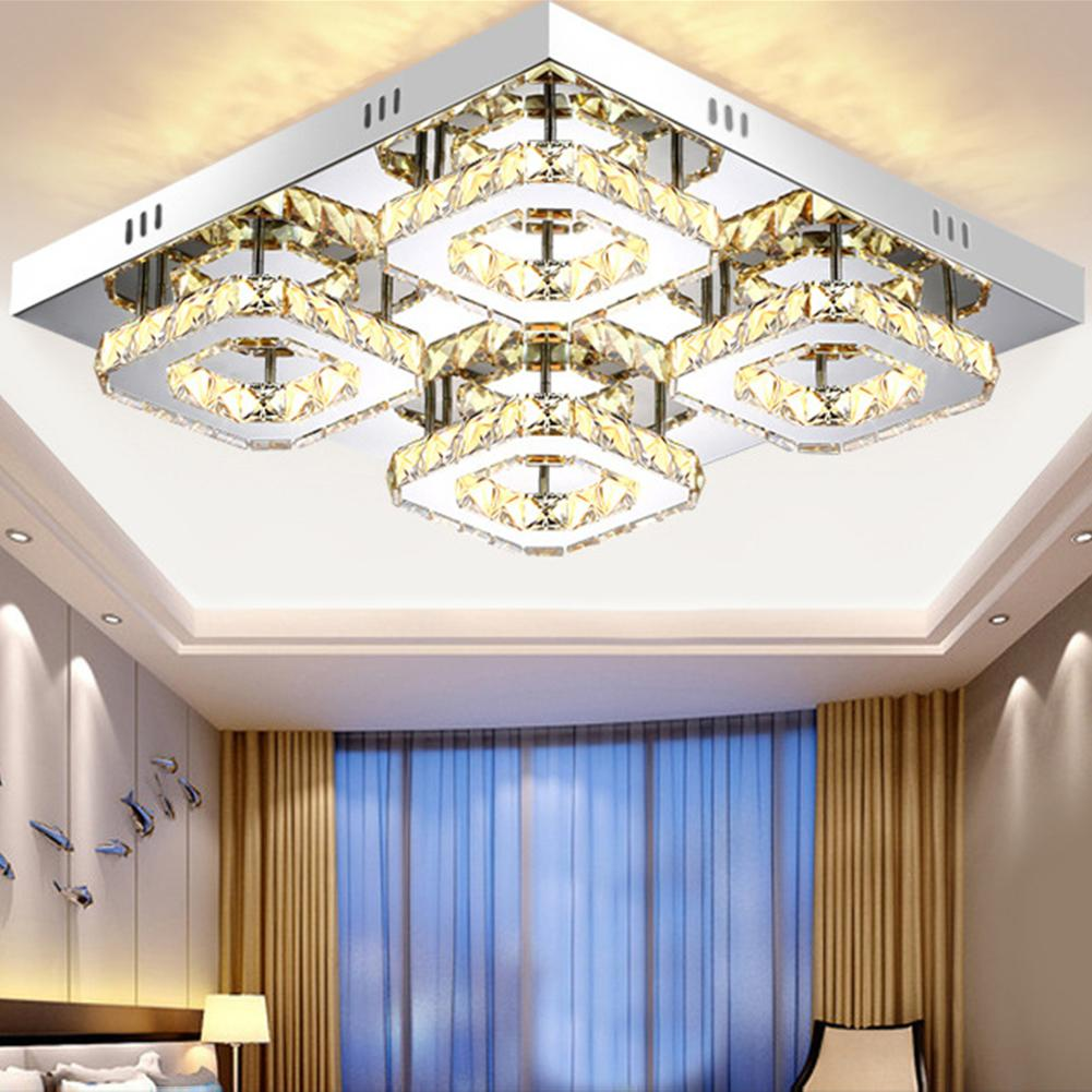 48W Crystal Dimmable Ceiling Lamp Square Home Light LED Hallway Entryway Dining Room Kitchen Living Room Lights