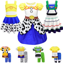 Toy Story Woody Dress Up Costume 4 Movie 2019 Jessie Cosplay Clothing Halloween Makeup Party Jumpsuit Short Buzz Lightyear Sets
