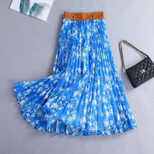 New Fashion Spring Summer Fall Women Vintage Floral Print Long Maxi Pleated Skirt High Waist Casual Party Skirt Female Plus Size