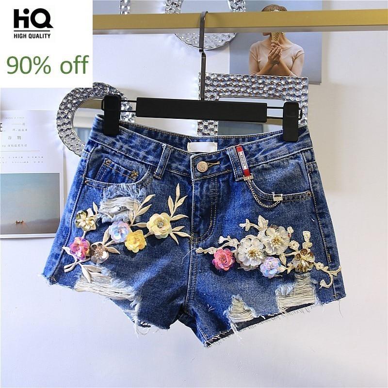 Summer Womens Denim Shorts 2020 Korean Fashion High Waist Hole Ripped Loose Fit Jeans Short Sequin Floral Wide Leg Woman Trouser