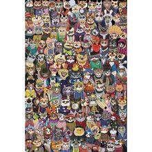 Michelangelo quebra-cabeça de madeira gatos grupo foto 1000 peças 2000 peças presente das crianças