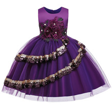 цена на Kids Infant Girl Flower Petals Dress Children Toddler Elegant Dress Pageant Vestido Infantil Tulle Formal Party Dresses