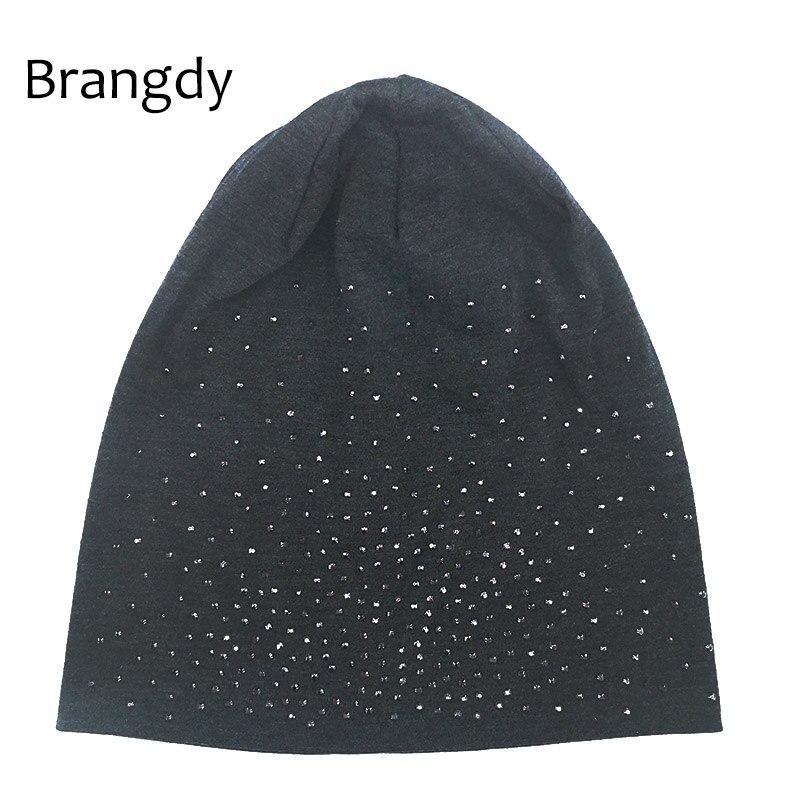 Autumn Winter Rhinestones   Beanies   Hats For Woman Ladies Solid Color   Skullies   Slouchy   Beanie   Hats Bonnet Womens Cap Hat Gorro