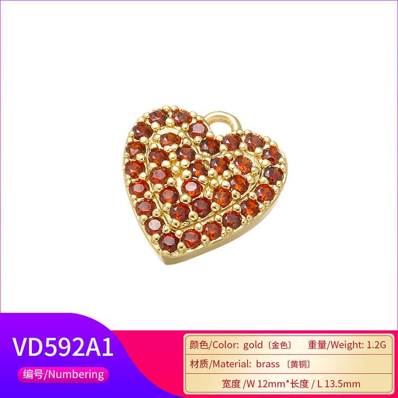 ZHUKOU 12x13.5mm ทองเหลืองหัวใจคริสตัลจี้สำหรับสร้อยคอต่างหูสร้อยข้อมือเครื่องประดับเครื่องประดับทำผลรุ่น: VD592