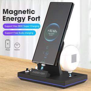 Image 1 - 2020 yeni 11th Gen 3 in 1 65W manyetik hızlı kablosuz şarj Dock enerji FORT Huawei 5A hızlı izle kulaklık şarj GT2