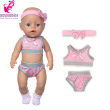 Toys Doll Bikini Doll-Summer-Sets Baby 18inch Cloth Suit for Girl Pink Swim