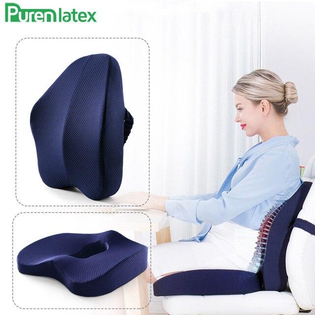 Ортопедическая подушка из пены с эффектом памяти, комплект из 2 предметов, подушка для офисного кресла, коврики для автомобильных сидений, подушка для защиты позвоночника от геморроя