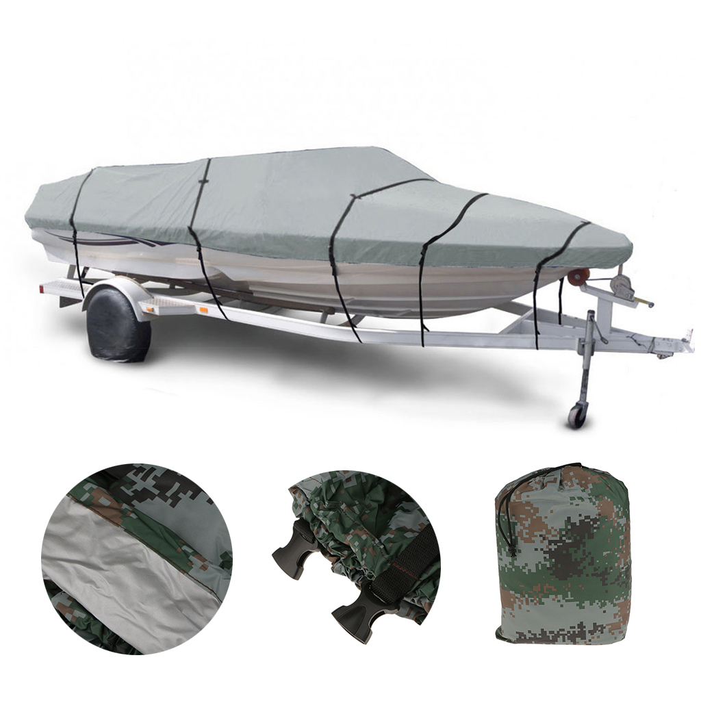 Waterproof Polyester Anti-UV Boat Cover For 11-13/14-16/17-19/20-22FT Fish-Ski Speed Boat  Speedboat Mooring Protector Cover