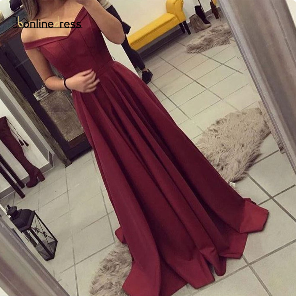 Burgundy Prom Dress Chiffon A-Line Prom Dresses 2020 Satin Off The Shoulder Elegant Formal Party Gown Plus Size Vestidos