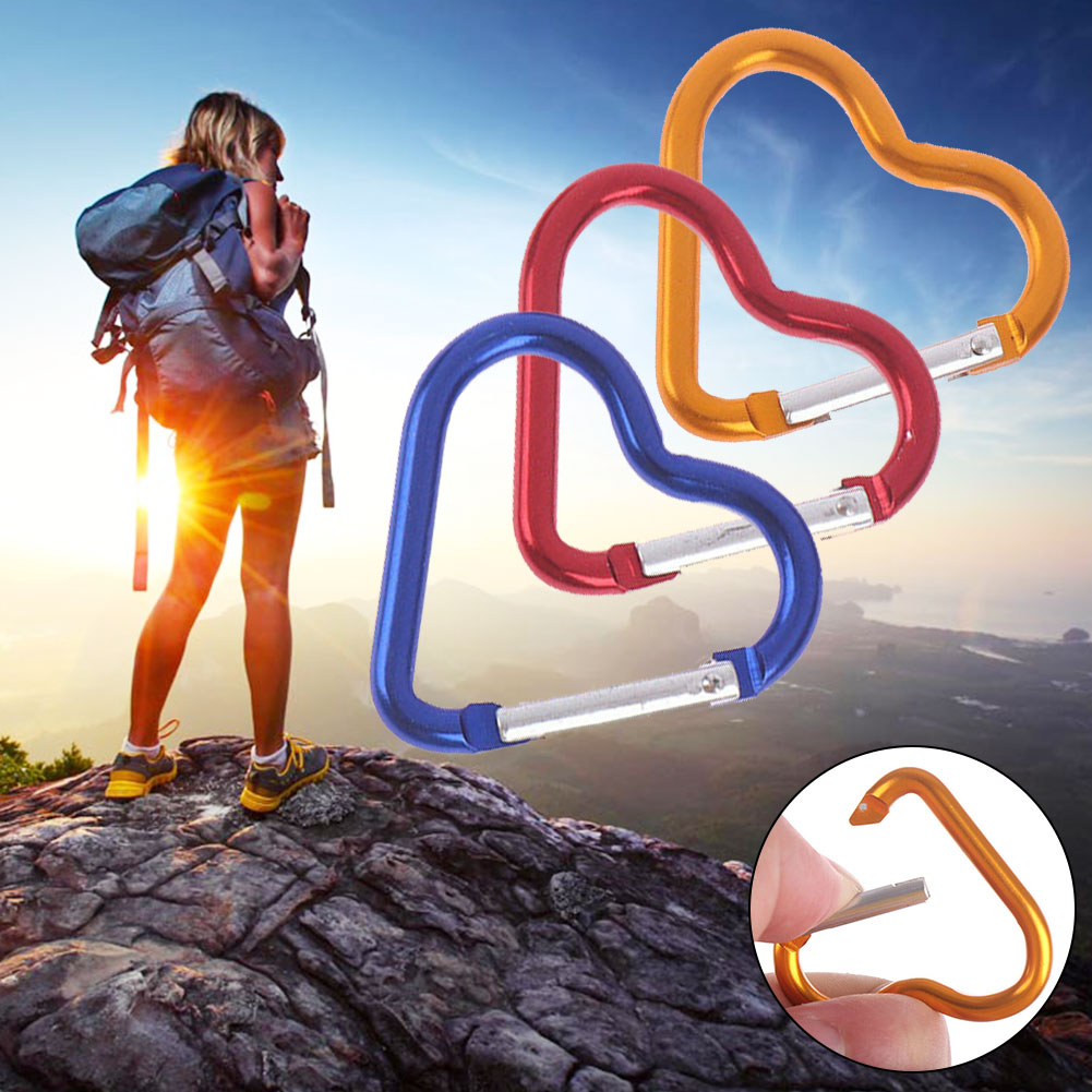 3pcs Heart Shaped Hiking Sport Carabiner Portable Keychain Fast Hanging Mini Gadgets Multi Functioned Outdoor Aluminum Alloy