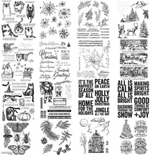 Boże narodzenie Santa Tress Winter Scene Holly Jolly frazy wyczyść pieczęć na tłoczenie Scrapbooking Craft tworzenie kartek nowy 2020 30 tanie tanio CN (pochodzenie) Clear Stamps 2020 Pieczątka standardowa RUBBER dekoracja