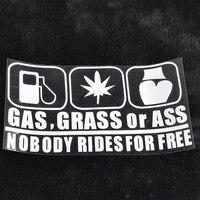 Car Stickers Gas Grass Ass Nobody Rides for Free Funny Reflective Car Sticker DIY Decal car accessories наклейка на авто для 4