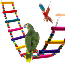 Colorful Birds Pets Parrots Ladders Climbing Toy  Wooden Swing Bridge Bird Cage Hanging D40