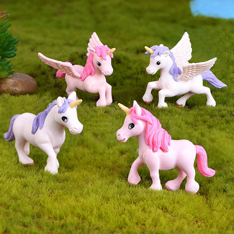 Resin Unicorn Figurine Model Micro Landscape Bonsai Home Table Ornament Cake Decor Resin Unicorn Decor