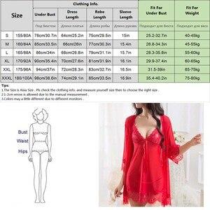 Image 5 - Ensemble pyjama Sexy 4 pièces pour femmes, chemise de nuit Chic en dentelle, vêtements de nuit pour poupées, vêtements de nuit + Robe de nuit + string + ceinture, vêtements de nuit