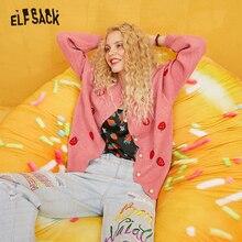 Женский кардиган ELFSACK, с вышивкой в виде клубники и жемчуга, на пуговицах, 2019, осень, с длинным рукавом, золотой шелк, корейский