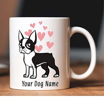 Personalised with any name added for free Bone China Mug Boston Terrier