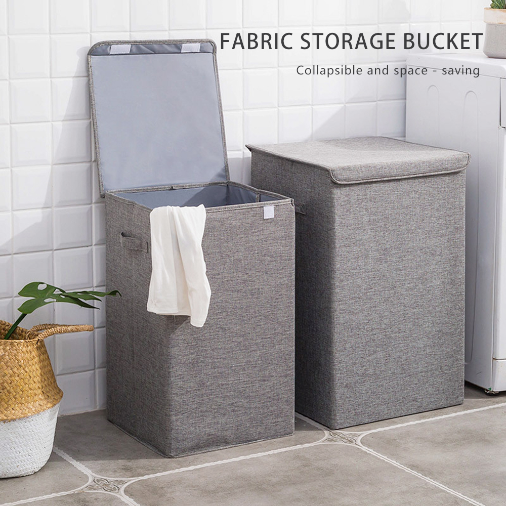 Kapaklı pamuk keten katlama çamaşır sepeti büyük depolama su geçirmez kirli giysiler kova ev çamaşır sepeti depolama sepeti