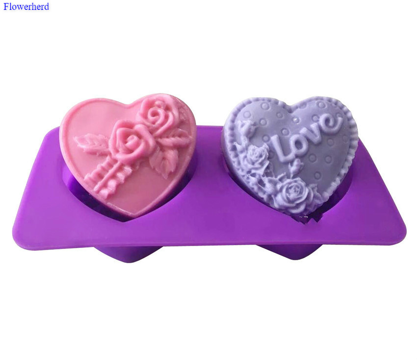Innovative Cake Decorating Tools Heart Shape Rose Fondant Cake Silicone Mold DIY Chocolate Biscuit Mold 3D Handmade Soap Mold