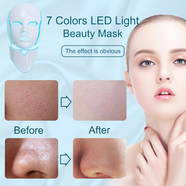 LiCheng LED Facial Mask Beauty Skin Rejuvenation Photon Light 7 Colors Mask with Neck Therapy Wrinkle Acne Tighten Skin Tool 1