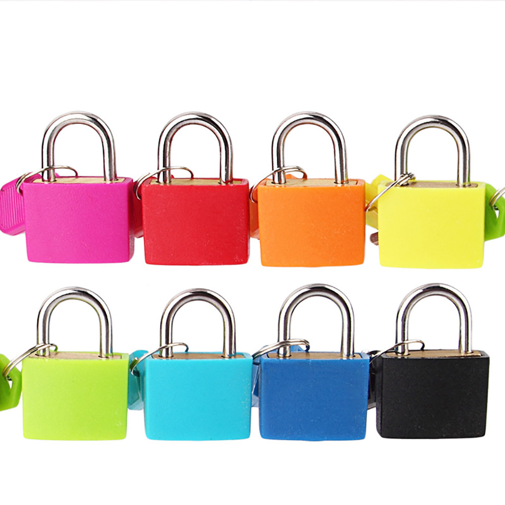 1 Pcs Small Mini Lock Strong Steel Padlock Travel Suitcase Diary Lock With 2 Keys  Colored Plastic Case Padlock Decoration