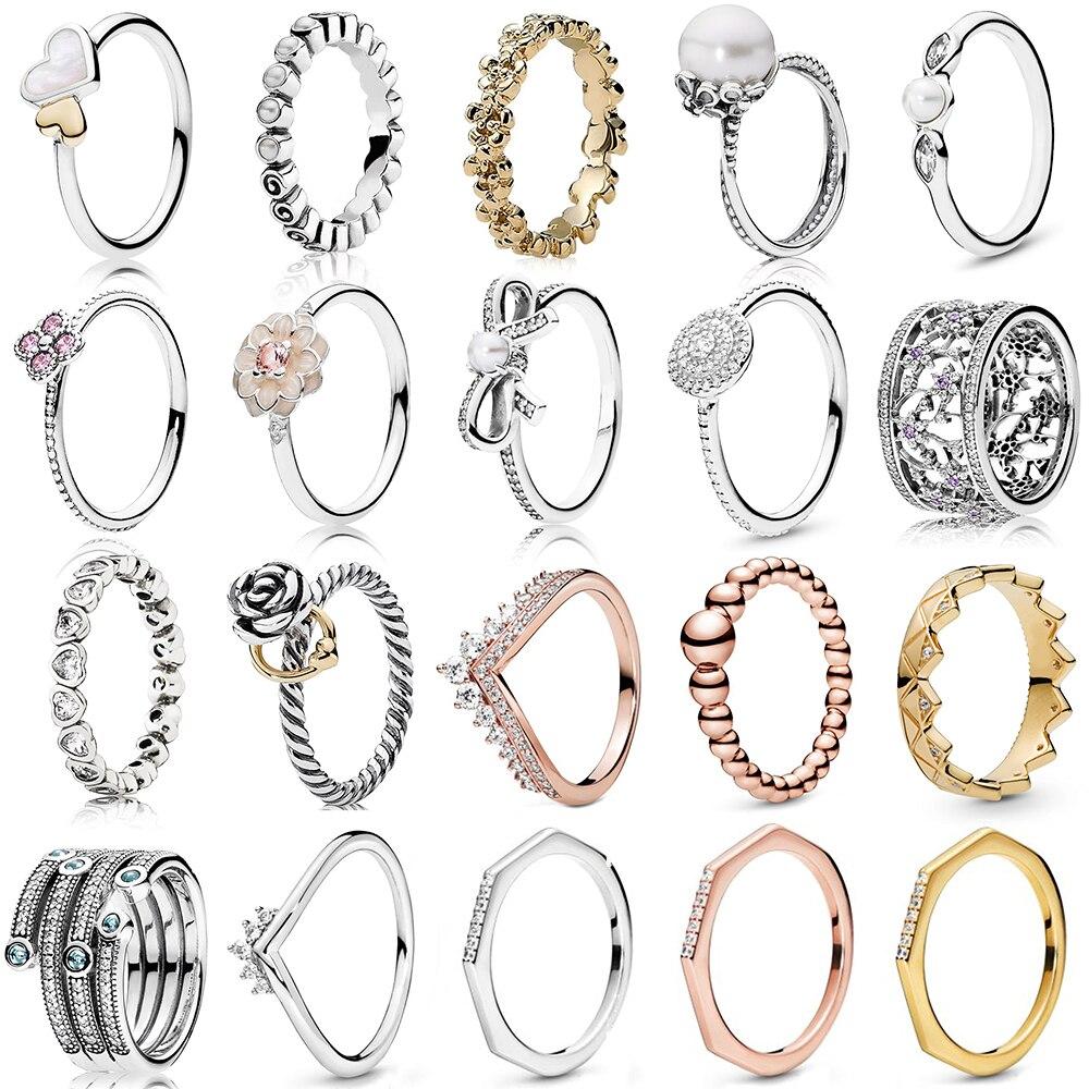 NEUE 2019 100% 925 Sterling Silber Rose Gold Prinzessin Wishbone Vergessen Mich Nicht Ring für Europa Frauen Original Mode Schmuck geschenk