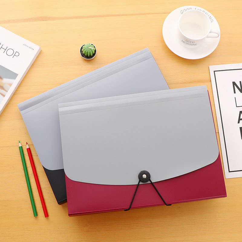 Simple Color Multi-layer A4 Organ Bag Folder With Buckled Document Bag Bill Student Paper Folder Multi-layer File Box