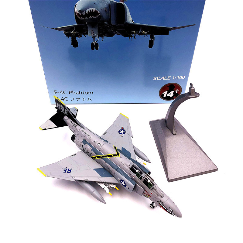 1:100 1/100 Scale US F-4 Phantom Ⅱ VF-84 Fighter Diecast Metal Airplane Plane Aircraft Model Toy image