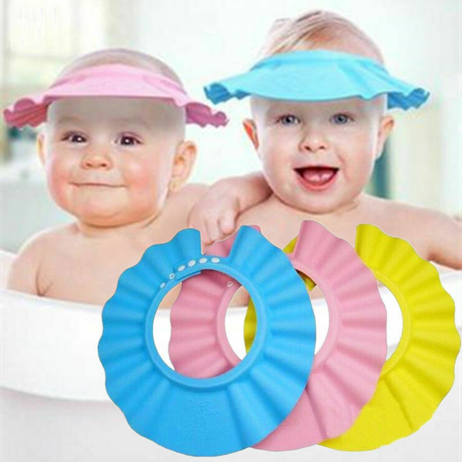 Adjustable Baby Kids Flower Shampoo Bath Shower Hat Cap Wash Hair Waterproof Shield