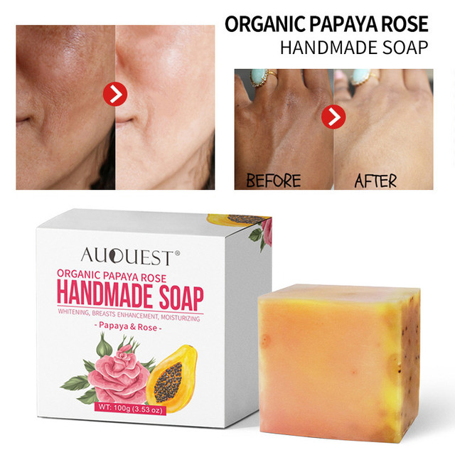 Papaya Rose Handmade Essential Oil Soap Botanical Soap Facial Soap Bath Skin Lightening Care Intimate Private Crystal Body Face 2