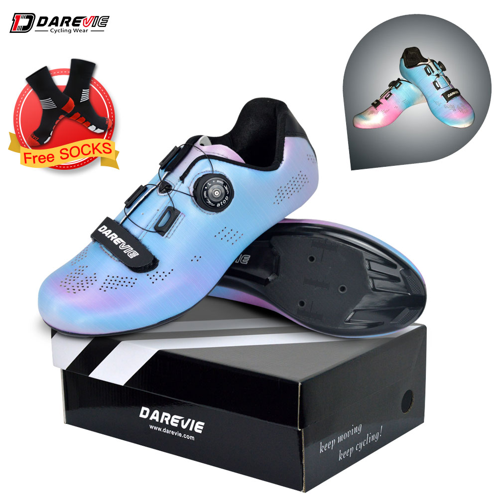 Darevie 2019 Cycling shoes Road Racing Cycling Shoes Pearl Colorful Chameleon Reflective Cycling Shoes Compatible LOOK SPD-SL