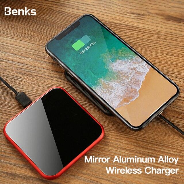 Benks אלומיניום סגסוגת צ י אלחוטי מטען 10W מהיר טעינה עבור סמסונג S10 S9 S9 + S8 7.5W עבור iphone 11 פרו מקס XS XR X IOS 11.2