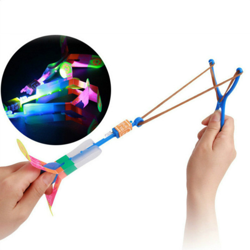 10 Pcs Luminous Slingshot Flying Arrow LED Light Up Flashing Dragonfly Glow For Kids Party Toys Gift To Brighten The Sky