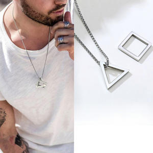 MALE PENDANT STACKING Streetwear Necklace SQUARE GEOMETRIC Stainless-Steel TRENDY TRIANGLE