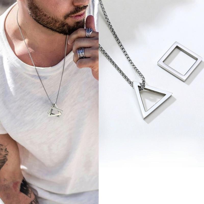 Популярный соединенный квадратный треугольный мужской кулон для мужчин из нержавеющей стали современный модный геометрический стиль