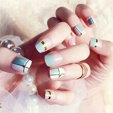 24 unids/set Vintage línea de oro uñas falsas acabado diseño corto cobertura total de puntas de uñas Prensa en uñas artificiales falsas con pegamento