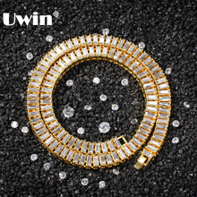 UWIN Baguette Rhinestones Fashion Chain Gold&Silver Color Square Iced Out Necklace Hiphop Men Women Jewelry Gift