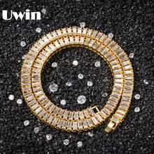 UWIN Baguette Стразы модная цепочка золотой и серебряный цвет квадратное сверкающее ожерелье хип хоп для мужчин женщин ювелирные изделия в подарок