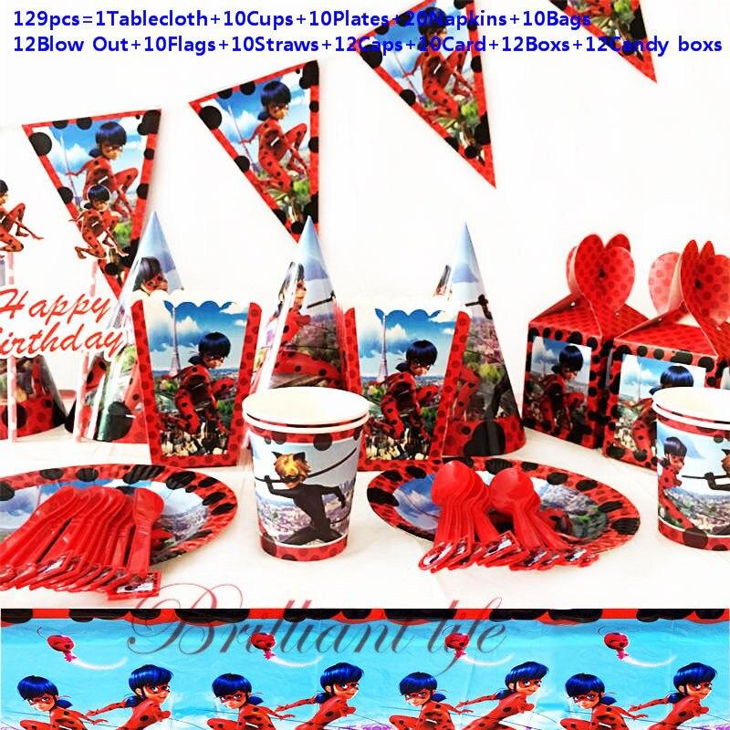 Party Decoration 129Pcs/159Pcs Ladybug Girl Cartoon birthday Decoration Kids Birthday Party Supplies Disposable Tableware Set