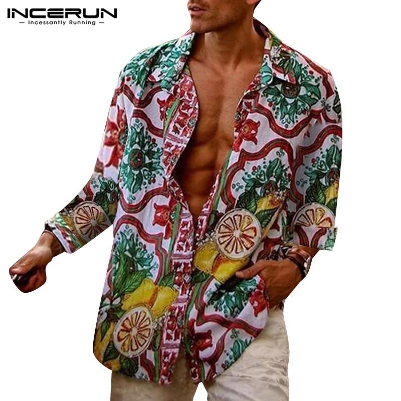 INCERUN Men Hawaiian Print Shirt Long Sleeve Button Loose Lapel Streetwear Retro Casual Shirts Men Tropical Vacation Blouse 5XL