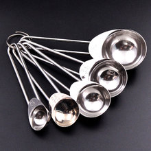 5pcs Stainless Steel Smooth Cooking Kitchen Tools Tableware Feeding Hard Ergonomic Accessory Restaurant Measuring Spoon(China)