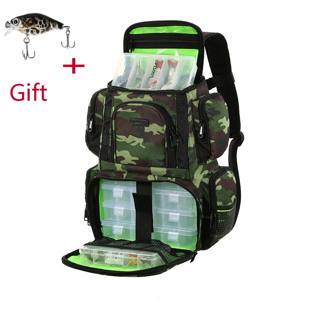 Lixada Fishing Backpack Waterproof Fishing Lures Reel Bag Adjustable Straps Fish Tackle Storage Bag +Fishing Tackle Boxes
