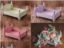 Mini Baby Bed Photo Prop Small Bed For Baby Infant Photo Wooden Furniture Vintage Wood Crib Photo Shooting Studios Accessories