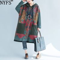 NYFS 2019 New Autumn Knitted cowboy Women Hooded Dress Loose large Size Print vintage long Dress Vestidos Robe Elbise Dresses