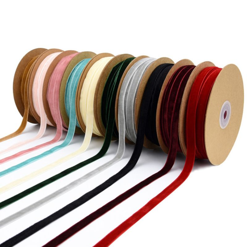 1cm Width Assorted Colors Handmade Velvet Ribbon DIY Craft Appliques Sewing For Gift Wrapping Bow Making Accessories