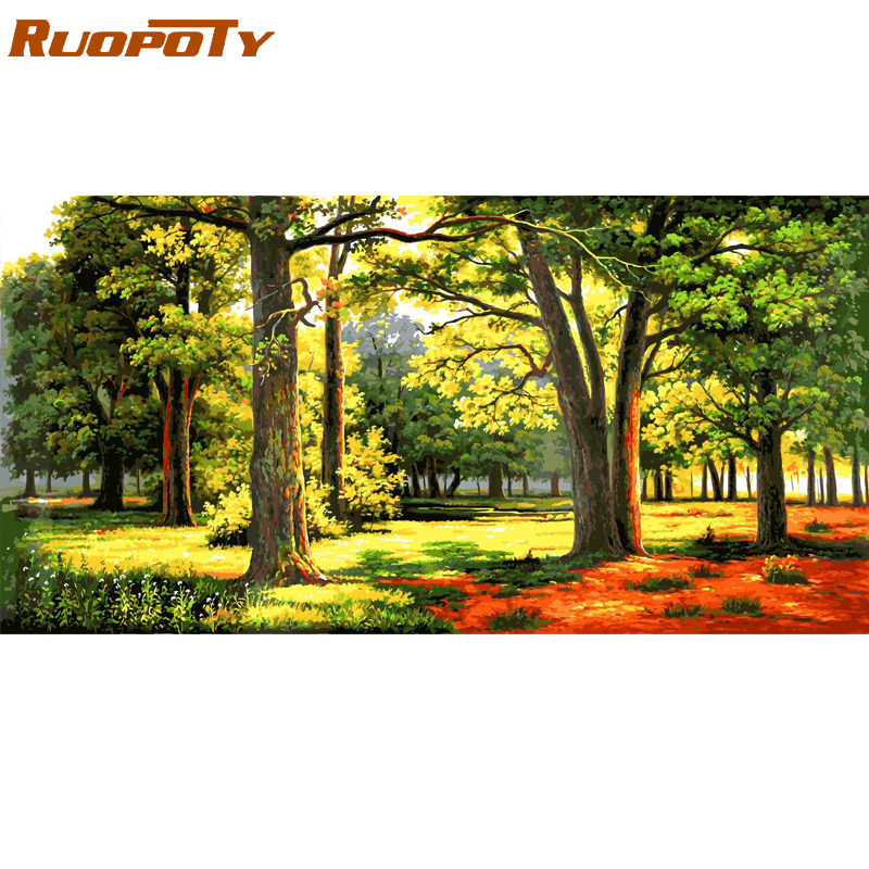 RUOPOTY Frame Picture By Numbers Forest Diy Paint By Numbers Modern Wall Art Picture Canvas Painting Landscape For Home Decors