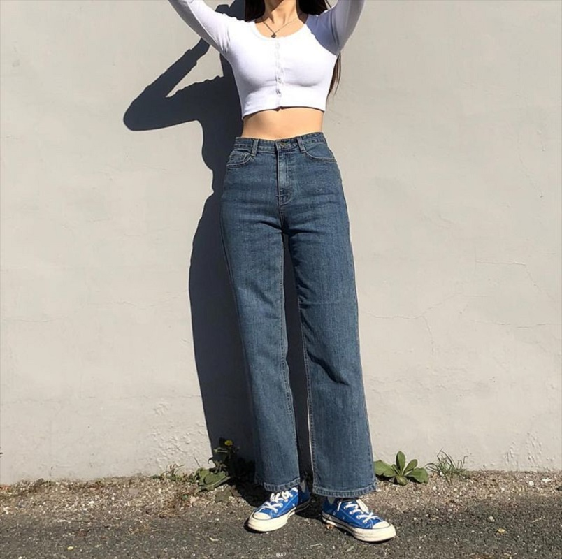 Mom Jeans Retro High Waist Jeans Women Casual High Street Straight Pants Boyfriend Loose Women's Jeans