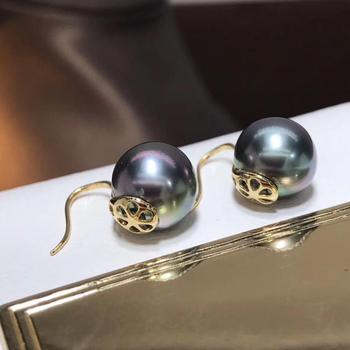 Fine Jewelry Pure 18 K Rose Gold 10mm Natural Tahiti Ocean Green Round Pearl Earrings for Women Fine Pearl Earrings 2