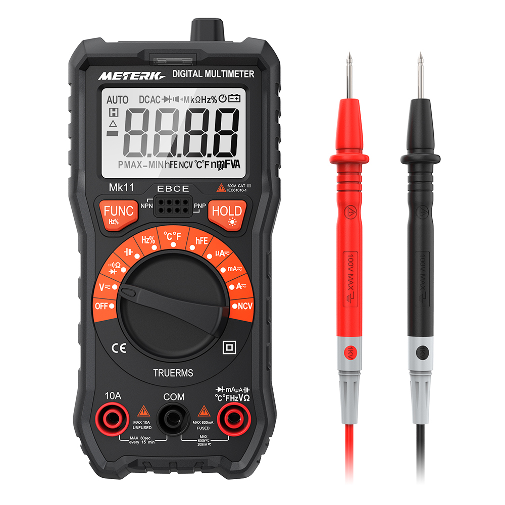 Meterk 2000 Counts Digital Multimeter True RMS AC/<font><b>DC</b></font> Voltage Current Resistance Tester with Backlight LCD and Flashlight image