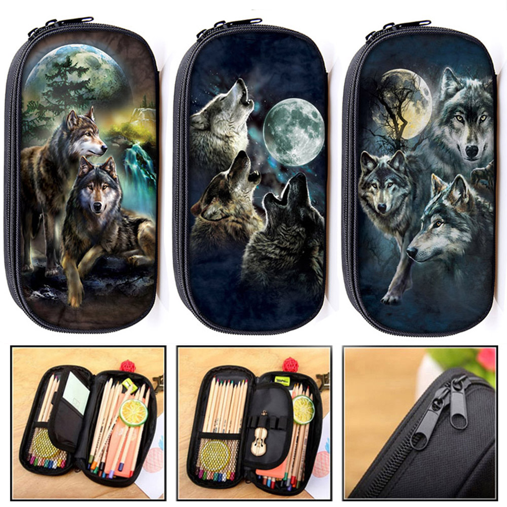Cool Howling Wolf Print Cosmetic Cases Pencil Bag Teenager Boys Stationary Bag Children School Case Makeup Bags School